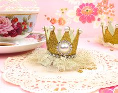 Gold Princess Crown Hair Clip - Glitter Princess Party Accessories and Photo Props |  1st Birthday Princess Party Outfit Prop. Tiara