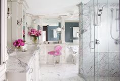 [Interior Intuitions' Masterpiece in Marble romantic and peaceful bathroom by Bev Adams] Venatino marble slabs on the countertops, shower surround and walls; 18-inch statuary marble tiles on the floor