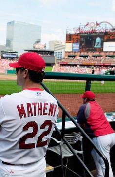 ST. LOUIS, MO - MAY 1: Mike Matheny #22 of the St. Louis Cardinals looks on as his team plays the Cincinnati Reds during the fourth inning at Busch Stadium on May 1, 2013 in St. Louis, Missouri. (Photo by Jeff Curry/Getty Images)