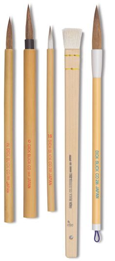 Bamboo Brush Set - 1 pointed brown goat hair, 1 pointed white goat hair, 1 ox bristle, 1 wide hake, and 1 Mister Big Cat Jr.