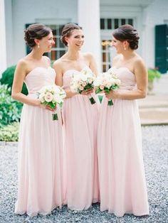 light pink bridesmaid dress,long bridesmaid dress,chiffon bridesmaid dress,sweetheart bridesmaid dresses,BD827
