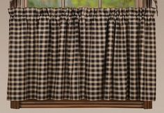 "Add country to your home with our Bingham Star Plaid Lined Tier Curtains 24"" while also providing some privacy for you and your family. https://www.primitivestarquiltshop.com/products/bingham-star-plaid-lined-tier-curtains-24 #countrystylecurtains"
