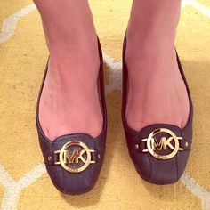 Michael Kors Navy & Gold flats Very comfortable! Excellent condition- only worn a few times for an hour or so.  Size 8 Michael Kors Shoes Flats & Loafers