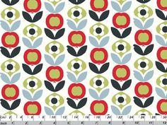 Ökotex100 Bio Baumwolle Apple Flower Rot Grün von Rosenstoffe Shop auf DaWanda.com