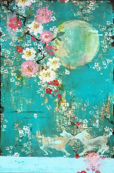 Kathe's paintings are inspired by the romance of vintage French wallpapers and Chinoiserie with a modern twist. on frescoed panel with Japanese gold ink. Chinoiserie, Art Floral, French Wallpaper, Art Japonais, Oil Painting Flowers, Painting Art, Vintage Flowers, Asian Art, Painting Inspiration