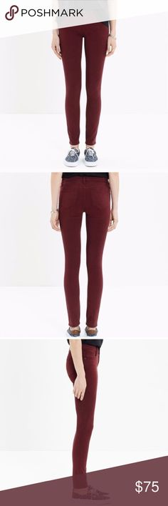 Madewell Skinny Skinny Maroon Ankle Jeans Super soft and stretchy, Maroon skinny jeans - like new without tags. Adds a fun pop of color - slim fit, super flattering and comfy! 💕  Trusted, top 10% seller and fast shipper!  100% of proceeds are donated for cancer research Madewell Jeans Skinny