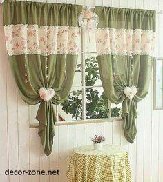 creative kitchen curtain ideas , green curtains