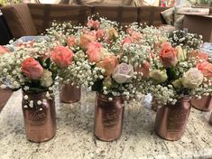 Rustic Wedding Centerpieces Beautiful suggestions to put together a really imaginative rustic chic wedding centerpieces diy Wedding idea number 9698655858 pinned on 20190330 Gold Mason Jars, Mason Jar Centerpieces, Rustic Wedding Centerpieces, Wedding Flower Arrangements, Flower Centerpieces, Wedding Flowers, Wedding Decorations, Rose Gold Centerpiece, Centerpiece Ideas