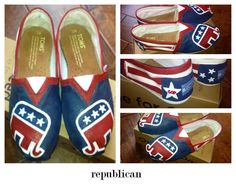 Custom Hand Painted Republican Elephant TOMS by ruelledesigns, $90.00
