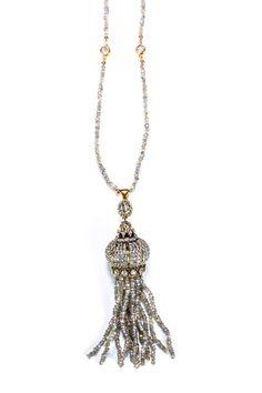 Zsa Zsa Jewels Mystic Labradorite Crystal & Cubic Zirconia Queens Throw Tassel Necklace