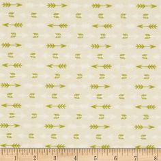 Happy Camper Flannel Arrows Cream from @fabricdotcom  Designed by Allison Cole for Camelot Fabrics, this single napped (brushed on one side only) flannel includes colors of green and white on a cream background. Use for quilting, crafts and apparel.