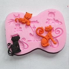 Longzang Cats Silicone Mold Sugar Craft DIY Gumpaste Cake Decorating Clay >>> Click image for more details.
