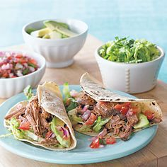 Chili-Beef Soft Tacos -Kid Friendly Slow Cooker Recipe   Give that boring pot roast a Mexican makeover by shredding the meat and serving tacos for dinner. To tailor this recipe to your kids' likes, add their favorite toppings or use a milder salsa.