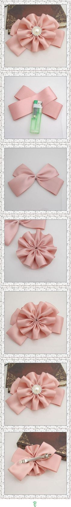 Diy Baby Headbands Ribbon Hair Bow Tutorial New Ideas Ribbon Hair Bows, Diy Hair Bows, Diy Bow, Diy Ribbon, Ribbon Work, Ribbon Crafts, Ribbon Flower, Flower Corsage, Flower Brooch