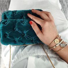 Bendetta Bruzziches teal velvet tufted shoulder bag