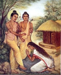 Ahalya (right bottom, seated in a red sari and rising from a stone,