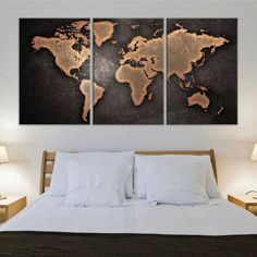 Copper World Map Canvas Wall Art Set - Medium / 3 Pieces