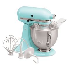 KitchenAid Artisan 5 Qt Tilt Head Mixer In Ice Blue >> I want this for the kitchen. Love the white attachments #LGLimitlessDesign #Contest