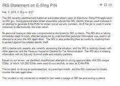 IRS Statement on E-filing PIN