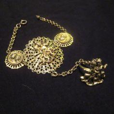 vintage gold tone cherub bracelet gold tone ring combo