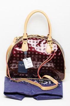 New Arcadia Vernis Leather Satchel Handbag Shoulder Bag Made In Italy Vinegar