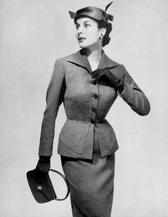 Susanne Erichsen in fitted checked wool suit by Paquin, photo by Georges Saad, 1954