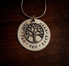 FAMILY TREE NECKLACE-- Nickel Silver Metal Personalized Custom pendant necklace hand stamped Family Mother jewelry