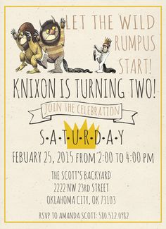 Where The Wild Things Are Birthday Invitation by RadBoyMomDesigns