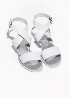 & Other Stories   Cross-Strap Leather Sandal