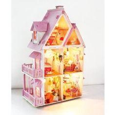 Amazon.co.jp: 明りがともる可愛いの木製ミニチュアドールハウス手作りキット!: おもちゃ