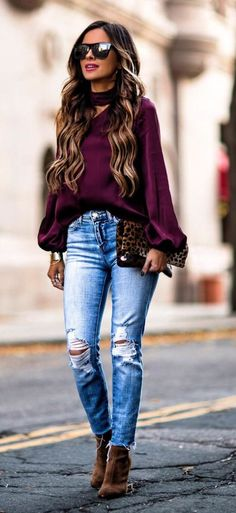 Love the color of this plum blouse for fall!!
