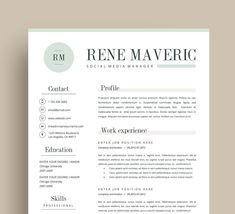 Green  Page Modern  In  Word Resume Templates For Ms Word Docx