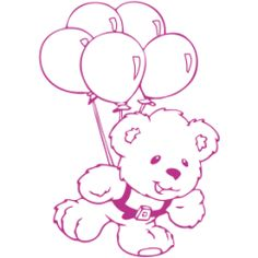 Teddy bear wall decal #10 Balloons | Starting from $10 |  Customize:  •Colours(36) •Size(7) •Orientation •Finish (mat or glossy)  | PayPal payment, worldwide delivery | For order and details: http://fuzzypi.com/index.php?route=product/product&path=63_113&product_id=299