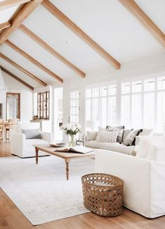 I immediately felt inspired walking into this room. The vaulted ceilings enhanced by beams, the shape of the existing built in shelves, and the fireplace were all details that I knew I wanted to preserve. We just needed to brighten them up a bit. Home Living Room, Living Room Designs, Living Room Decor, Fixer Upper Living Room, High Ceiling Living Room, White Living Rooms, Large Living Rooms, Small Living, Dining Rooms