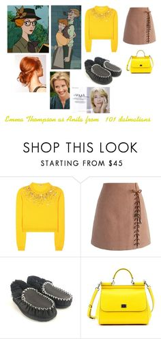 """""""Disney dream cast: Emma Thompson as Anita from '101 dalmatians'"""" by sarah-m-smith ❤ liked on Polyvore featuring Radcliffe, Disney, Miu Miu, Chicwish and Dolce&Gabbana"""