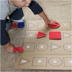 Simple puzzle game using a board and Velcro. Shapes, letters, numbers........