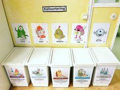 """Nea Elyoussoufi på Instagram: """"Sopsamlarmomster #hållbarutveckling #källsortering #förskola"""" Preschool Classroom, Classroom Decor, Bra Hacks, Educational Activities For Kids, Wall Trim, Custom Cake Toppers, Nature Study, Reggio Emilia, Solar Power"""