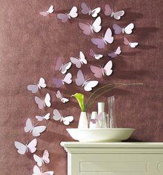 Schmetterlinge aus Papier an die Wand zaubern #Dekoration #diy #Frühling