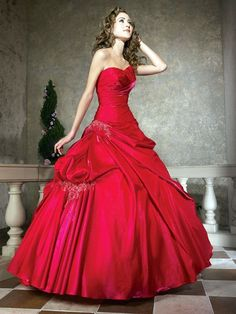Red Satin Ball Gown Charming Floor Length Prom Dress