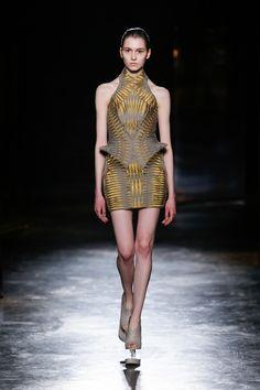 Iris van Herpen | Fall 2016 Ready-to-Wear | 12 Grey/gold sleeveless mini dress
