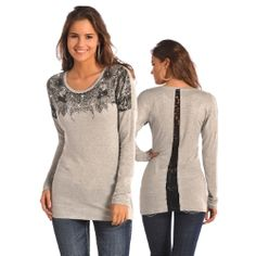 Tunics do not get much cuter than this!  Ladies' Knit Drop Shoulder Lace Vent Tunic.....
