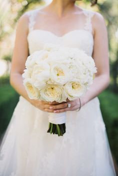 white peony bouquet - photo by Heidi Ryder Photography http://ruffledblog.com/dreamy-rose-gold-wedding #weddingbouquet #bouquets