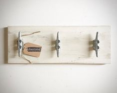 Nautical Towel Rack Nautical Decor Bathroom Decor Home Custom Wood Signs, Wooden Signs, Rustic Towel Rack, Boat Cleats, Nautical Bathroom Decor, Walnut Stain, How To Distress Wood, Shop Signs, Wall Hooks