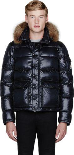 Moncler Navy Fur-Trimmed Hubert Jacket on shopstyle.com