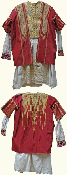 Three parts of a Tören Kostümü (Parade costume) in Syrian/Arabic style. From: Gaziantep-town. Mid-20th century. Long shirt and jerkin (both embroidered) + 'aba' (waistcoat with short sleeves). (Kavak Folklor Ekibi & Costume Collection - Antwerpen/Belgium).