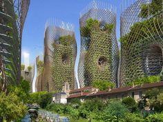 ... bei den mit Gärten bepflanzten Bambus-Türmen mit integrierten Windkraftanlagen oder ...