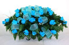 Beautiful Turquoise Roses Silk Flower Cemetery Tombstone Saddle with Deco Mesh  #Crazyboutdeco