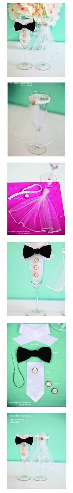 DIY Bride and Groom Wedding Glasses