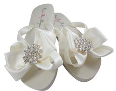 02fc1ec99 Bridal Flip Flops with Bling Rhinestone Satin Bows