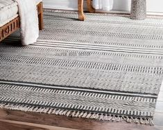Gray Stripe Cotton Nora Area Rug 5 x 8 by World Market Living Room Carpet, Bedroom Carpet, Rugs In Living Room, Bedroom Rugs, Bedroom Decor, Bedroom Inspo, Bedroom Ideas, Living Spaces, World Market Rug